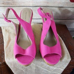 CHARLOTTE RUSSE Pink Sling Back Wedge Sandals